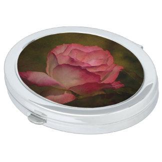 Textured Deep Pink Rose Compact Mirror