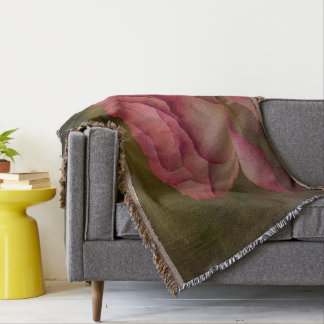 Textured Deep Pink Rose Throw Blanket