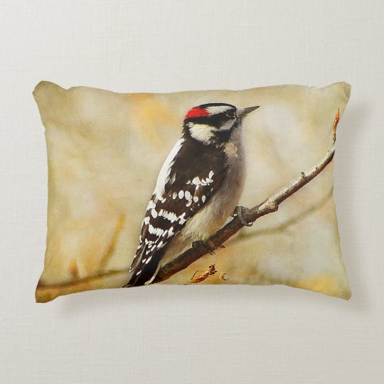 Textured Downy Woodpecker Outdoor Accent Pillow