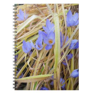 Textured Fall Crocuses in Straw Spiral Notebook. Notebook