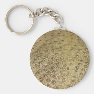 TEXTURED FAUX OSTRICH LEATHER KEYCHAINS