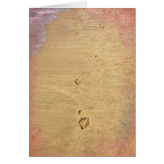 Textured footprints in the sand card