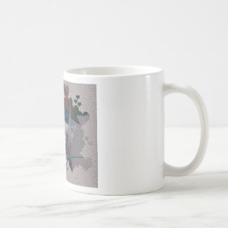 Textured Fractal Mug Surrounded by Hearts