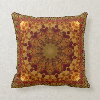 Textured Framed Rust And Gold Mandala Cushion