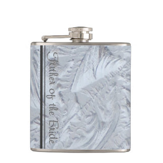 Textured Glass FATHER OF THE BRIDE Hip Flask