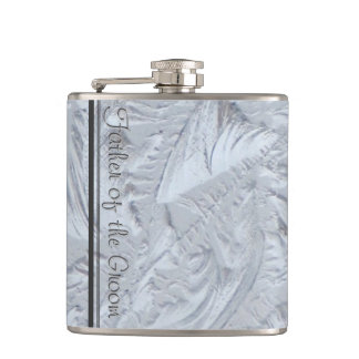 Textured Glass FATHER OF THE GROOM Hip Flask