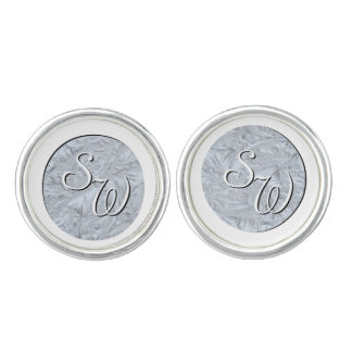 Textured Glass White Monogrammed Cuff Links