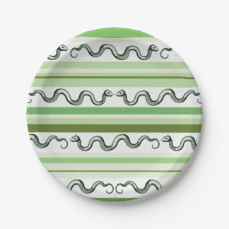 Textured Green and White Snakes and Stripes 7 Inch Paper Plate