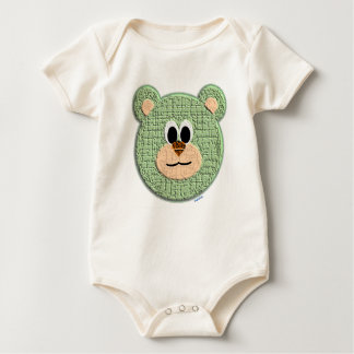 Textured Green Teddy Bear Baby Bodysuit