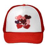 Textured Heart Collage Mesh Hat