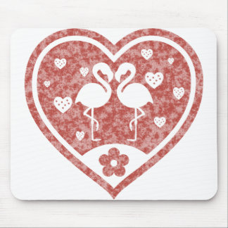Textured Heart Flamingo Love Mouse Pad