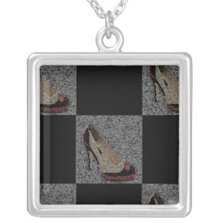 Textured High Heels Square Pendant Necklace