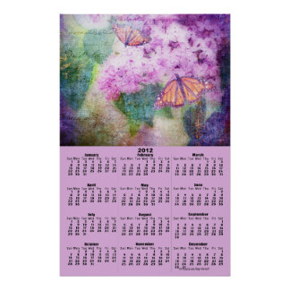 Textured Lilac Butterfly 2012 Wall Calendar Posters