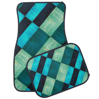 Textured look squares shades of blues and greens car mat