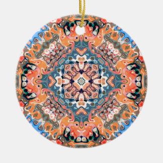 Textured Mandala Pattern Ceramic Ornament
