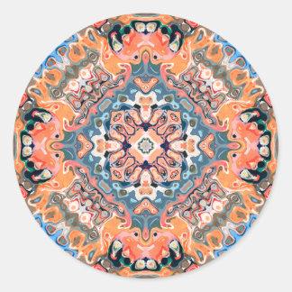 Textured Mandala Pattern Round Sticker