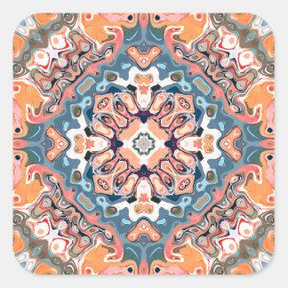Textured Mandala Pattern Square Sticker