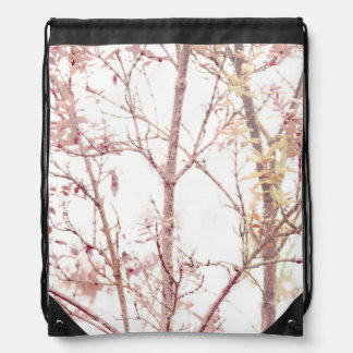 Textured Nature Print Drawstring Bag