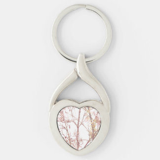 Textured Nature Print Silver-Colored Twisted Heart Key Ring