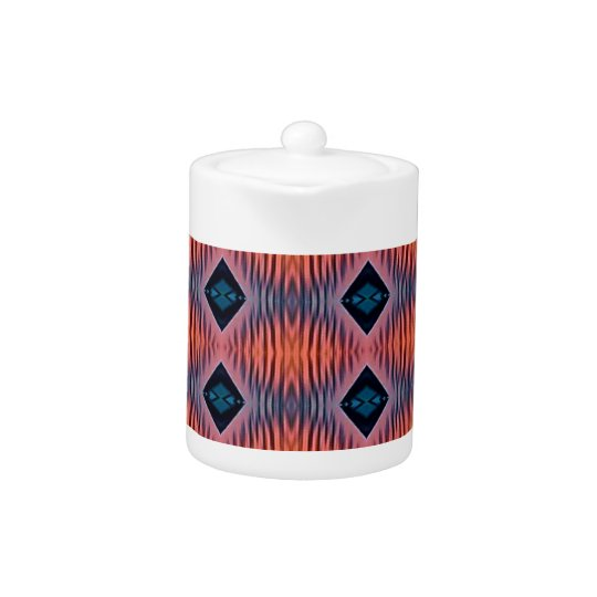 Textured Peach Blue Modern Tribal Pattern