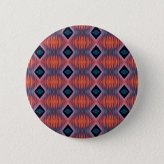 Textured Peach Blue Modern Tribal Pattern 6 Cm Round Badge