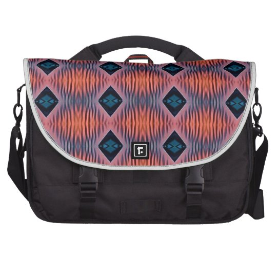 Textured Peach Blue Modern Tribal Pattern Bags For Laptop