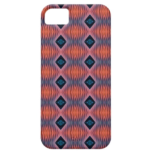Textured Peach Blue Modern Tribal Pattern Barely There iPhone 5 Case