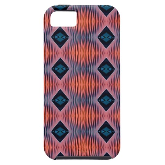 Textured Peach Blue Modern Tribal Pattern Case For The iPhone 5