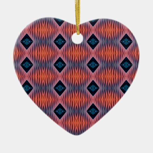 Textured Peach Blue Modern Tribal Pattern Ceramic Ornament