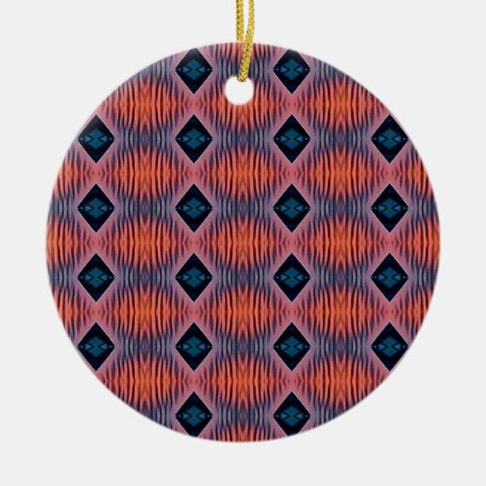 Textured Peach Blue Modern Tribal Pattern Ceramic Ornament