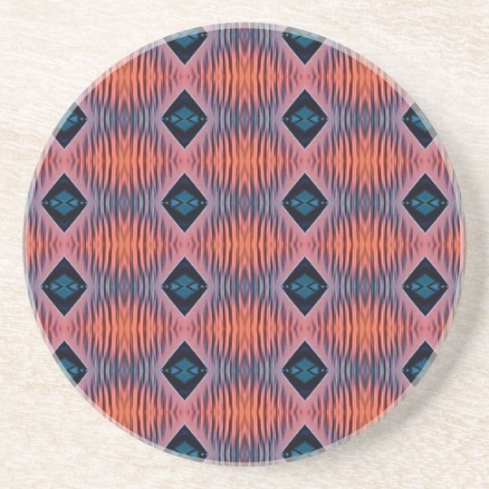 Textured Peach Blue Modern Tribal Pattern Coaster