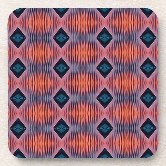 Textured Peach Blue Modern Tribal Pattern Coaster