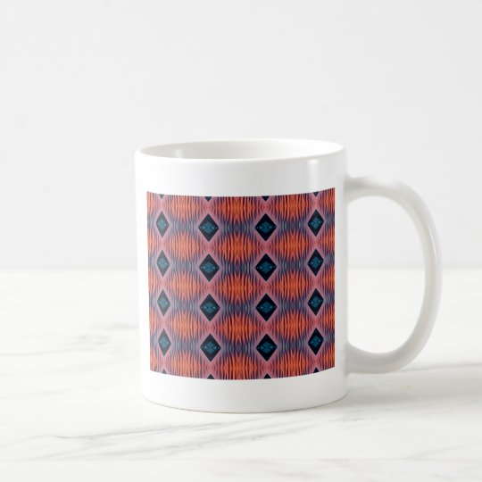 Textured Peach Blue Modern Tribal Pattern Coffee Mug