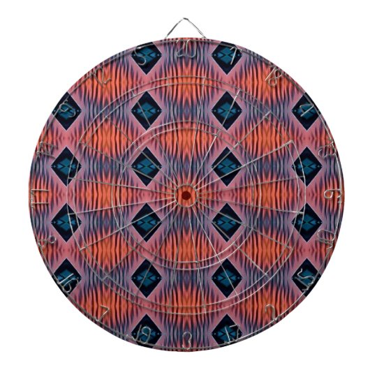 Textured Peach Blue Modern Tribal Pattern Dartboard