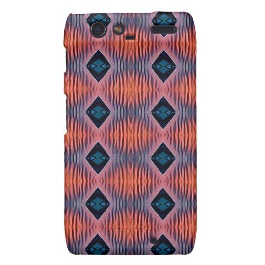 Textured Peach Blue Modern Tribal Pattern Droid RAZR Cases