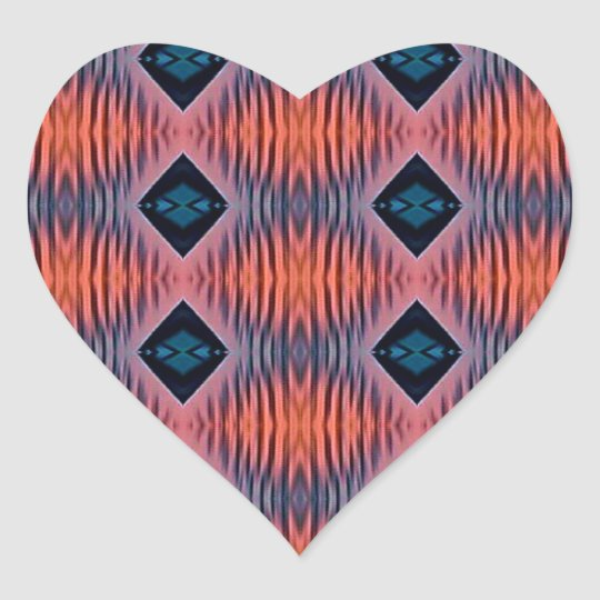 Textured Peach Blue Modern Tribal Pattern Heart Sticker