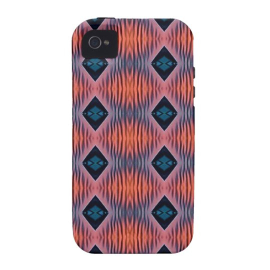 Textured Peach Blue Modern Tribal Pattern iPhone 4/4S Covers