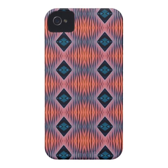 Textured Peach Blue Modern Tribal Pattern iPhone 4 Case-Mate Cases