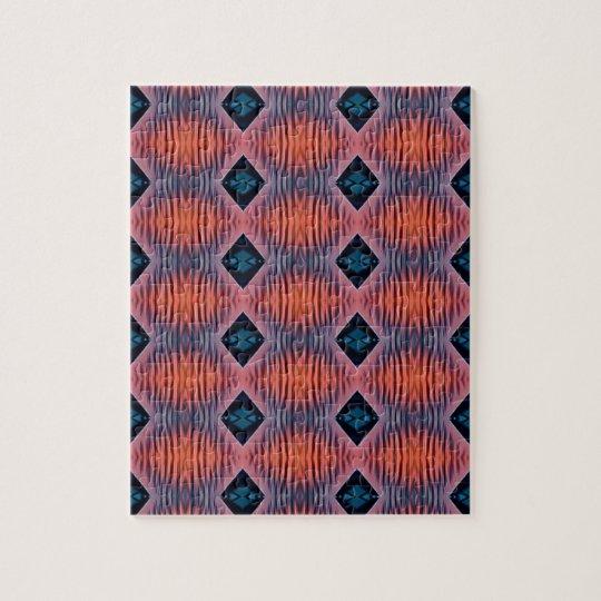 Textured Peach Blue Modern Tribal Pattern Jigsaw Puzzle