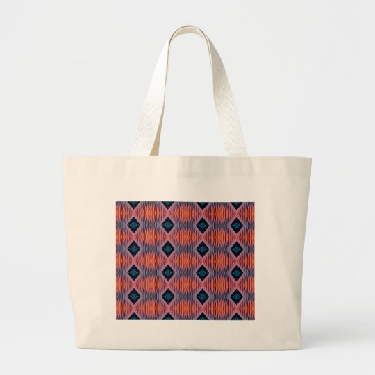 Textured Peach Blue Modern Tribal Pattern Large Tote Bag