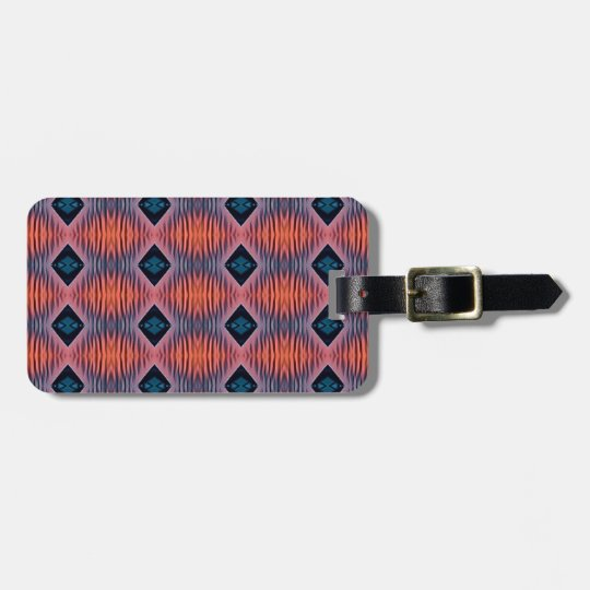 Textured Peach Blue Modern Tribal Pattern Luggage Tag