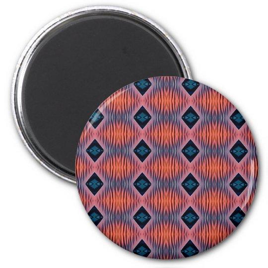 Textured Peach Blue Modern Tribal Pattern Magnet