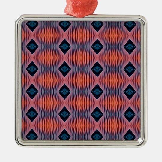 Textured Peach Blue Modern Tribal Pattern Metal Ornament