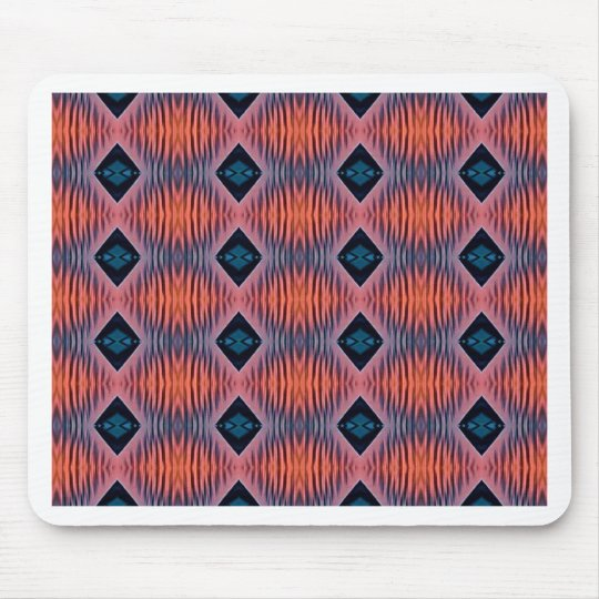 Textured Peach Blue Modern Tribal Pattern Mouse Pad