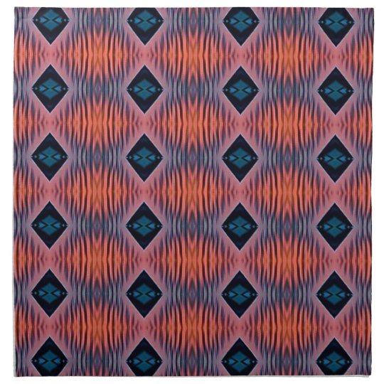Textured Peach Blue Modern Tribal Pattern Napkin