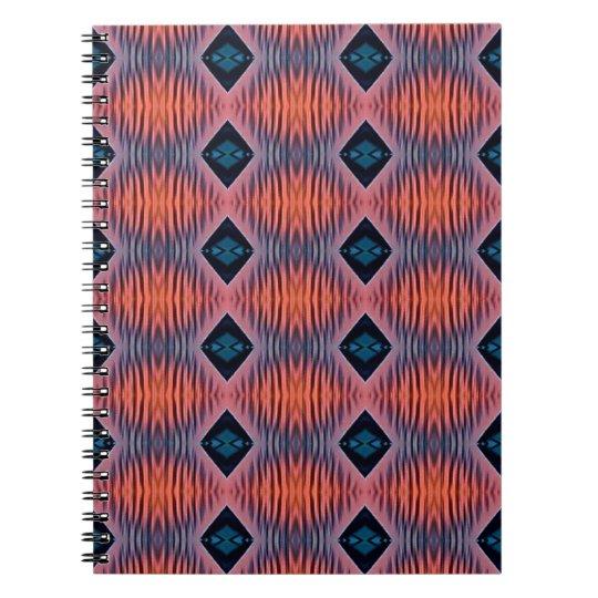 Textured Peach Blue Modern Tribal Pattern Notebook