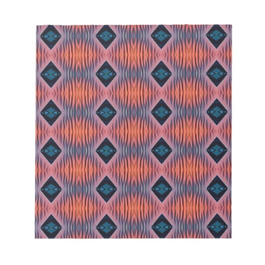 Textured Peach Blue Modern Tribal Pattern Notepad