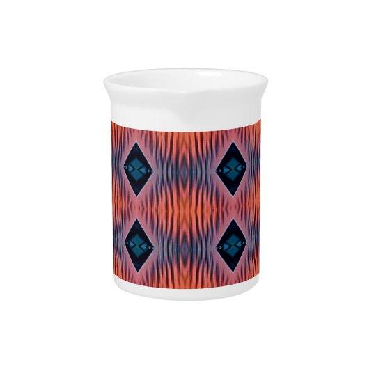 Textured Peach Blue Modern Tribal Pattern Pitcher