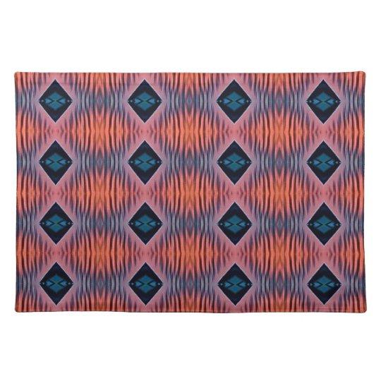 Textured Peach Blue Modern Tribal Pattern Placemat