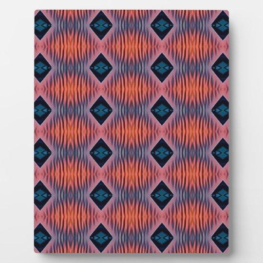 Textured Peach Blue Modern Tribal Pattern Plaque